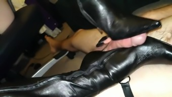 Sexy mistress gives hot bootjob