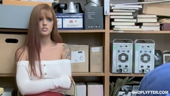 Red haired shoplifting chick Scarlett Mae gets punished in the backroom