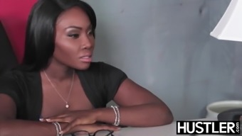 Sexy Black Bitch gets humped hard in the office .....