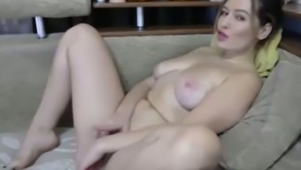Light skin brunette fucks hairy pussy with dildo and rubs clit on cam
