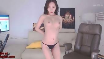 Korean bj neat in sexy black swimsuit