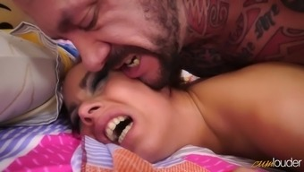 Sexy coed facesits her muscular lover before riding him cowgirl