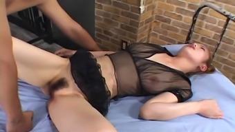 Sheerful lingerie is elegant on the horny Japanese slut