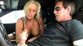 Honry MILF Carey Riley loves to drive stick shift, but when
