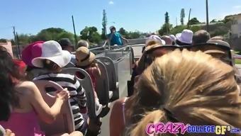 Girlfriend Lola Foxx sucking a cock on a real public tour bus