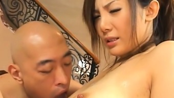 Dirty nipponese diva Rena Nagai with huge tits explores cock