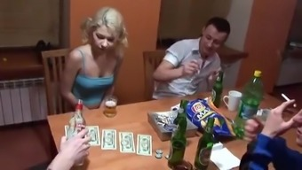 Group of horny people decides to surprise cute blonde with hard group sex