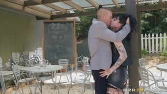Petite goth whore Charlotte Sartre gets cum in mouth after anal