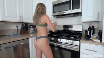 Instead of a lunch Athena Faris eats a hard friend's penis before sex