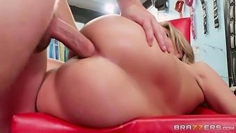 Dressing room sex with slutty blond client Aubrey Adams