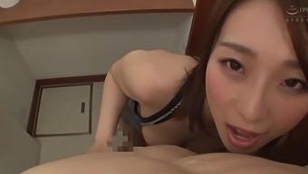 HD POV video of Hachino Tsubasa with nice tits sucking a dick
