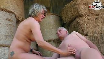 German mature grandma fucks outdoor in amateur