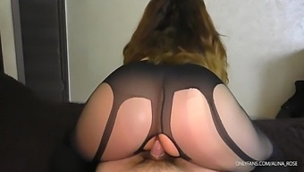 Teen Step Sister In Pantyhose Keeps Riding Revers Cowgirl