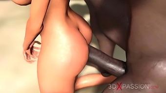 Hot sex on the beach! Big black man bangs a horny ebony on the savage island