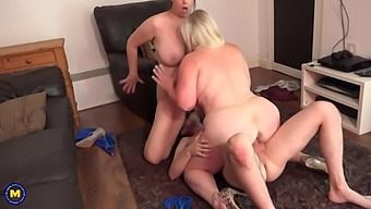 Two busty matures sharing lucky boy