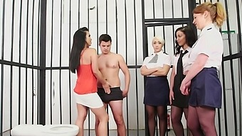 Slutty MILFs are sharing inmate's cock in CNFM down at the prison