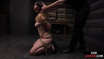 Tied bdsm sub rides toy before cock and then gets facial