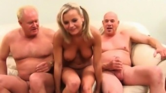 Foul blonde bitch is in a warm threesome to produce a twice invlovement