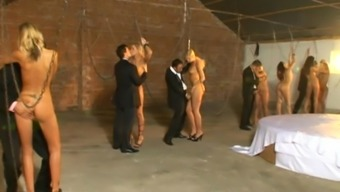 Anal passage tramps in BDSM quartet getting DP fucked after humiliation