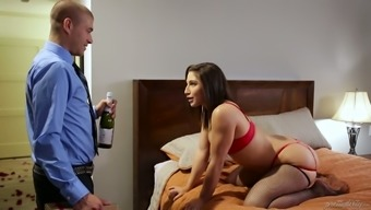 Exciting missy in stockings Abella Hazard is fucking her man