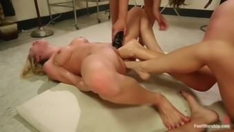 extreme foot fisting lesbian orgy along with four evil whores