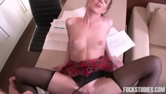 thin czech school love along with pigtails gets fucked by her english instructor