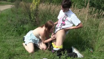 redhead teen's fucked silly outdoor by her lover