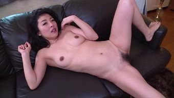 Sexy Far eastern homemaker gets her furry pussy drilled in the cooking area