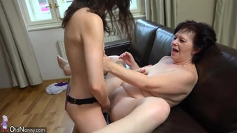 OldNanny Curvy mature and cute youngster is playing by using strapon