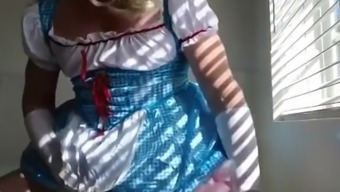 Adultbaby Diapered sissy queen in pretty blue dress