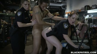 Immoral and naughty police fuck generous technician in threesome