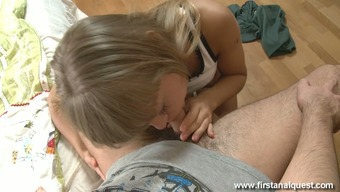 Toothsome vibrant mild haired cowgirl gives BF remarkable blowjob