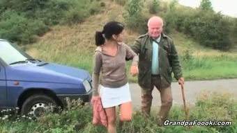Cute toddler seduces grandpa on the highway