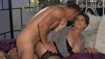Mum Workplace female in stockings desires concrete penis deep within her