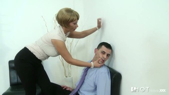 Naughty cougar Stella Design seduces employee for sexual intercourse in the office