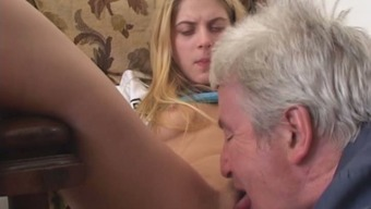Hot coed Rita makes her old co-worker ingest her pretty pink pussy
