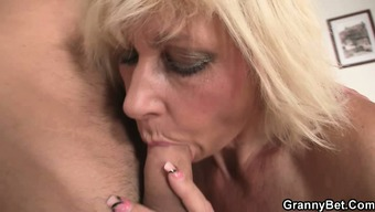 Blonde allows him practice her old snatch