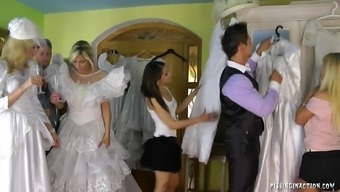 Remarkably attractive soon to be bride succumbs to really hard-core fucking with the wearing your clothes space on the wedding morning hours