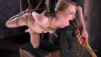 Gagged blonde spanked and cherry touched