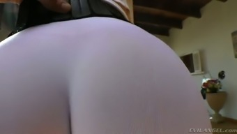 Full-figured dirty-minded auburn MILF in this kind of exercise underwear displays her inflation ass
