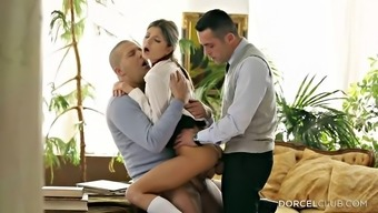 Twice pepping up her soppy young adult fuck cracks within a threesome