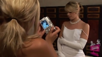 Lena Nicole seduces a surprising soon to be bride to be inside a wedding gown