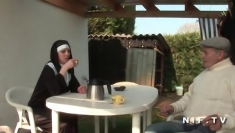 French language nun anal passage fucked in threesome