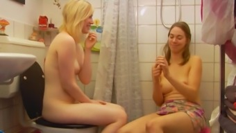 A couple of girls in wash room