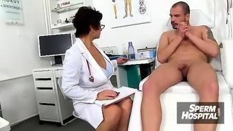 Soiled czech cougar Gabina is lively doctor in cfnm performance