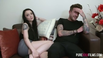 Pale Britain chick Alessa Mean gets poked from behind after wanking penis