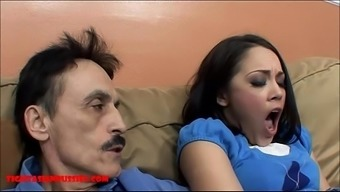 Very small far eastern young adult small pussy gets broken by soiled old one and gets grand father cum in her own lips