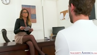 Tanned busty secretary in black stockings Brooklyn Chase is fucked on table