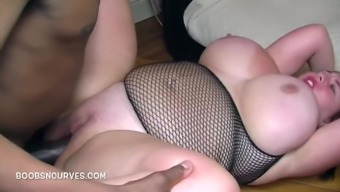 British Busty by using a massive black cock inside her