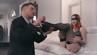 Dude with weird fetish fucks lovely red head in black pantyhose Lacy Lennon
